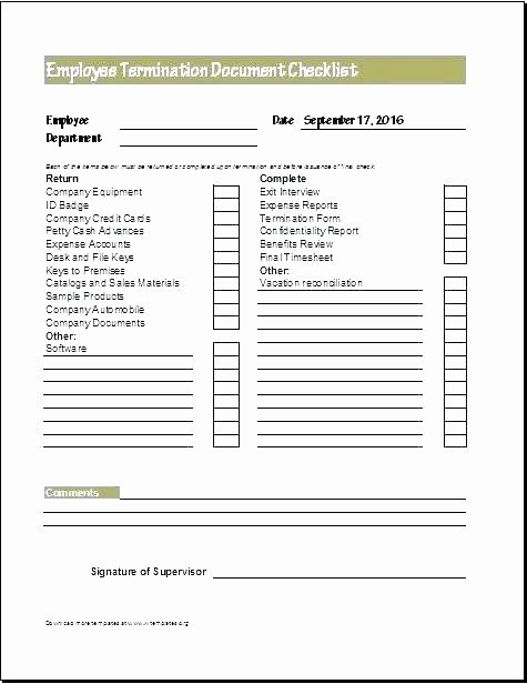 Employment Termination Checklist Template Awesome Employee Termination form Template Free Printable Sample