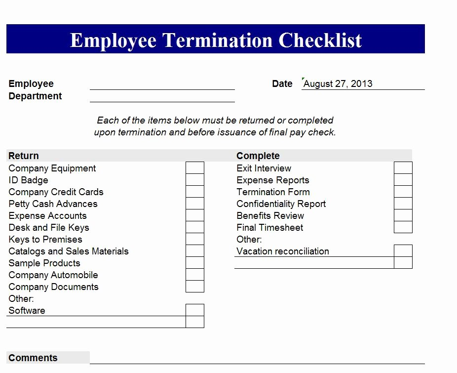 Employment Termination Checklist Template Best Of Employee Termination Checklist