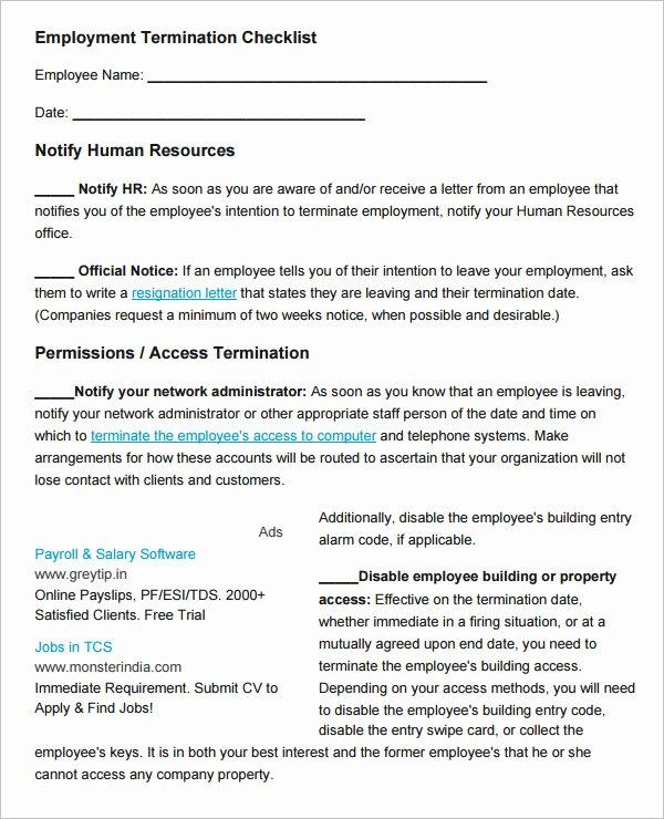 Employment Termination Checklist Template Inspirational 26 Hr Checklist Templates Free Sample Example format
