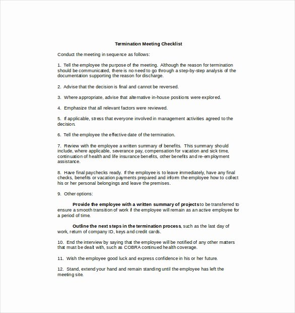 Employment Termination Checklist Template Lovely Termination Checklist Template – 12 Free Word Excel Pdf