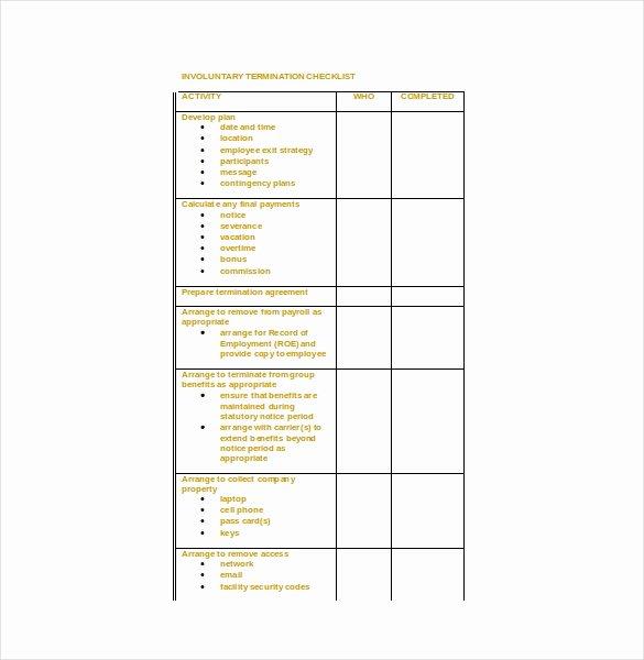 Employment Termination Checklist Template Luxury Termination Checklist Template 19 Free Word Excel Pdf