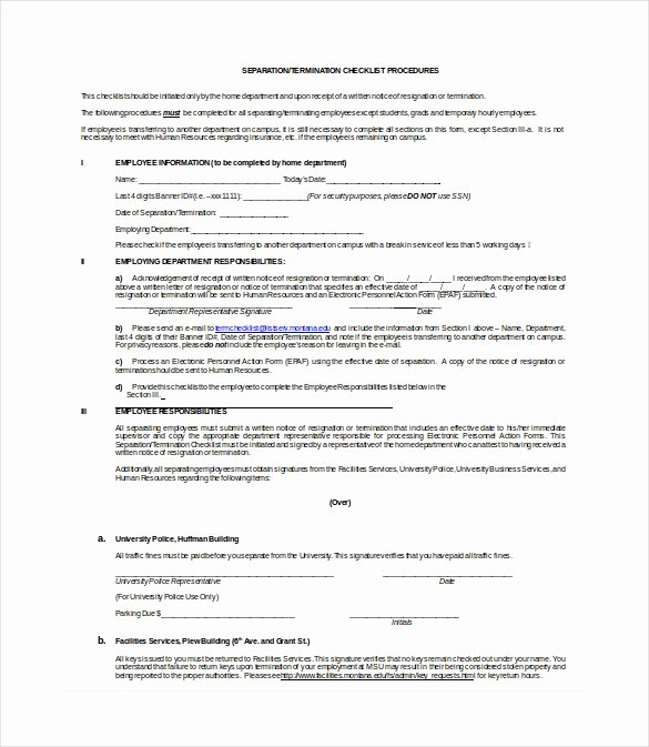 Employment Termination Checklist Template Unique Termination Checklist Template 19 Free Word Excel Pdf