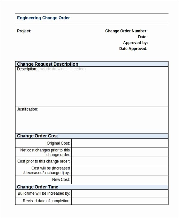 Engineering Change order Template Fresh Sample Change order form 9 Free Documents In Doc Pdf
