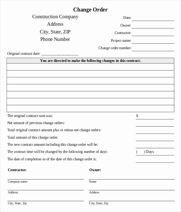 Engineering Change order Template Lovely Change order Template Example Of Engineering Change order