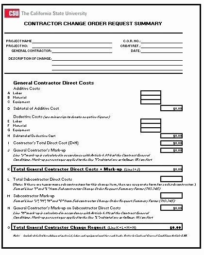 Engineering Change order Template New Change order forms Template Lovely Collection Free