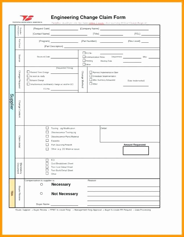 Engineering Change order Template New Change Request Templates Engineering form Template order
