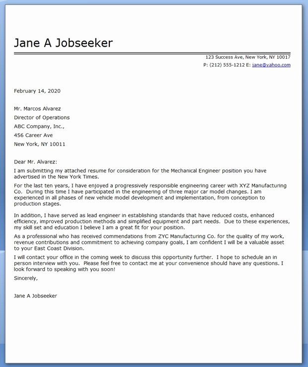 Engineering Cover Letter Template Luxury Cover Letter Mechanical Engineer Sample
