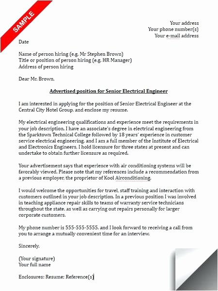 Engineering Cover Letter Template Unique Engineering Cover Letter Sample Internship Electrical