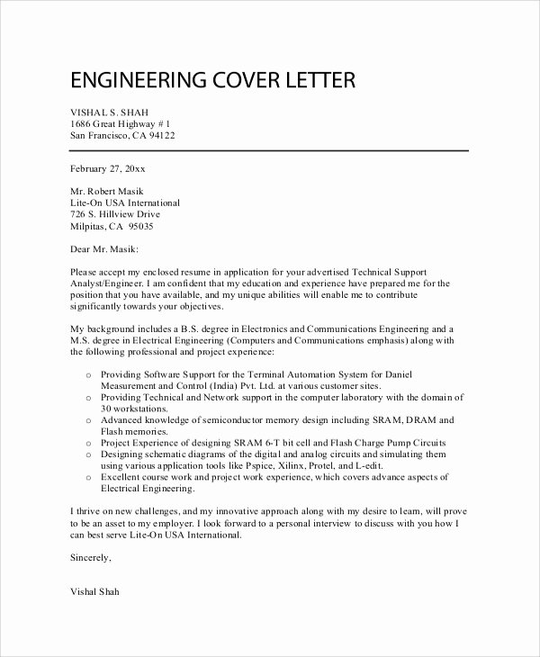 Engineering Covering Letter Template Beautiful 8 Sample Professional Cover Letters