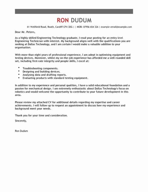 Engineering Covering Letter Template Beautiful Engineering Technician Cover Letter Template