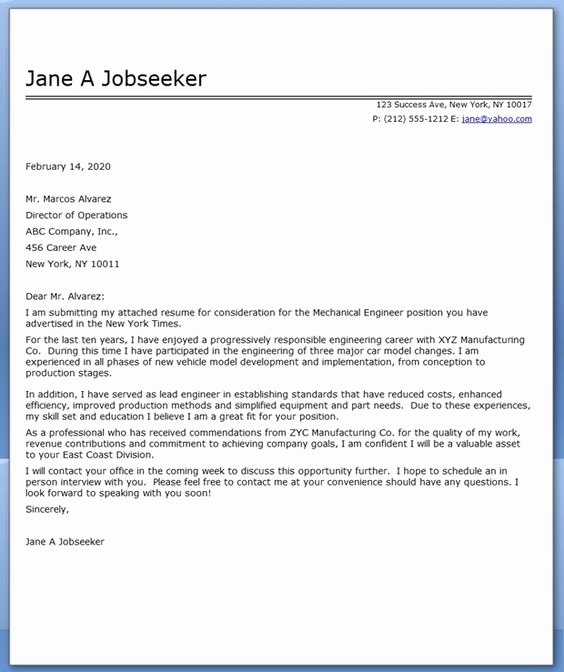 Engineering Covering Letter Template Elegant Cover Letter Mechanical Engineer Sample