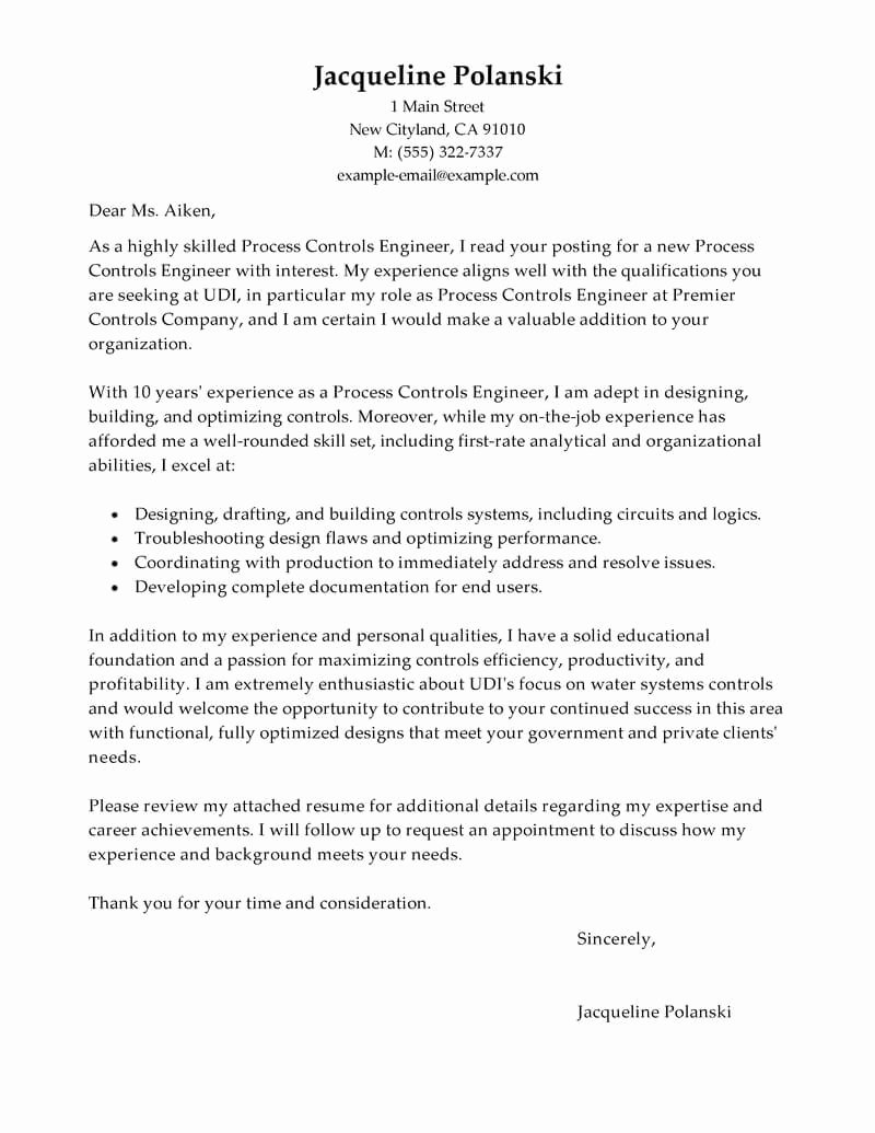 Engineering Covering Letter Template Fresh Best Process Controls Engineer Cover Letter Examples