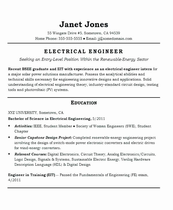 Engineering Student Resume Template Elegant Electrical Engineering Student Resume – Creero