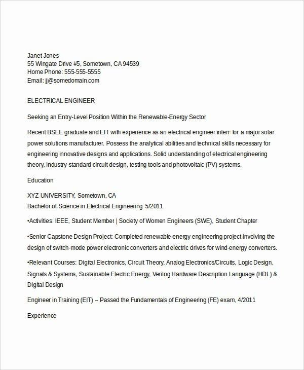 Engineering Student Resume Template Elegant Engineering Resume Template 32 Free Word Documents