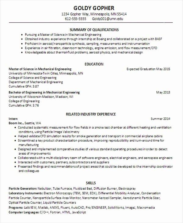Engineering Student Resume Template Fresh 25 Best Engineering Resume Templates Pdf Doc