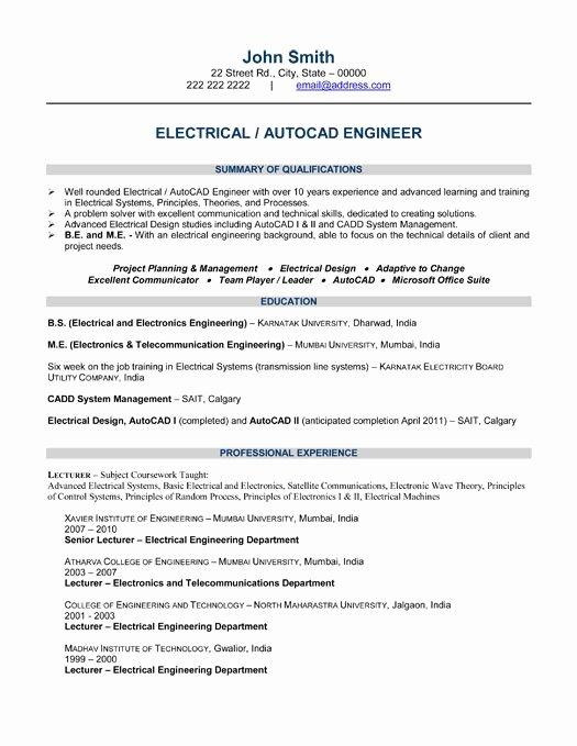 Engineering Student Resume Template Fresh Electrical Engineer Resume Template topresume