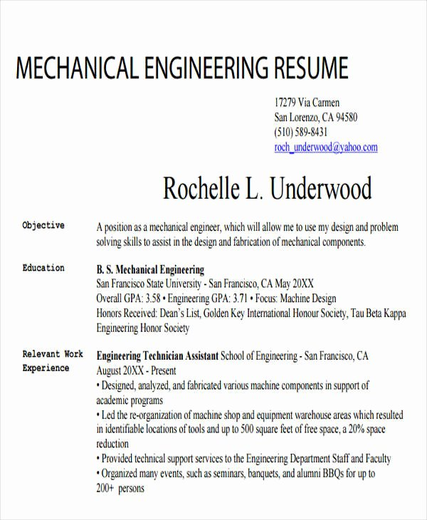 Engineering Student Resume Template Lovely 25 Generic Engineering Resume Templates