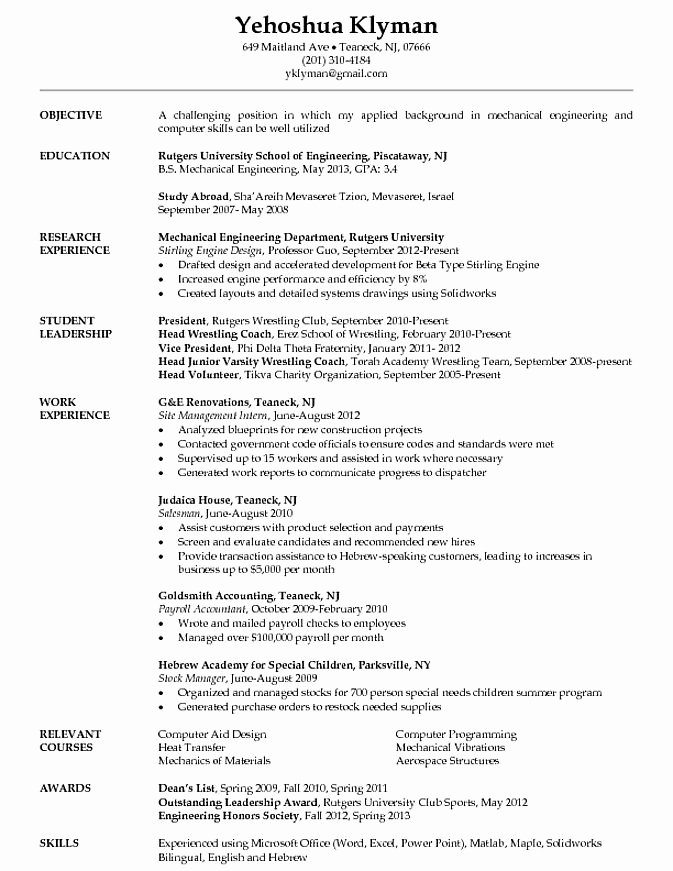 Engineering Student Resume Template Lovely Mechanical Engineering Student Resume