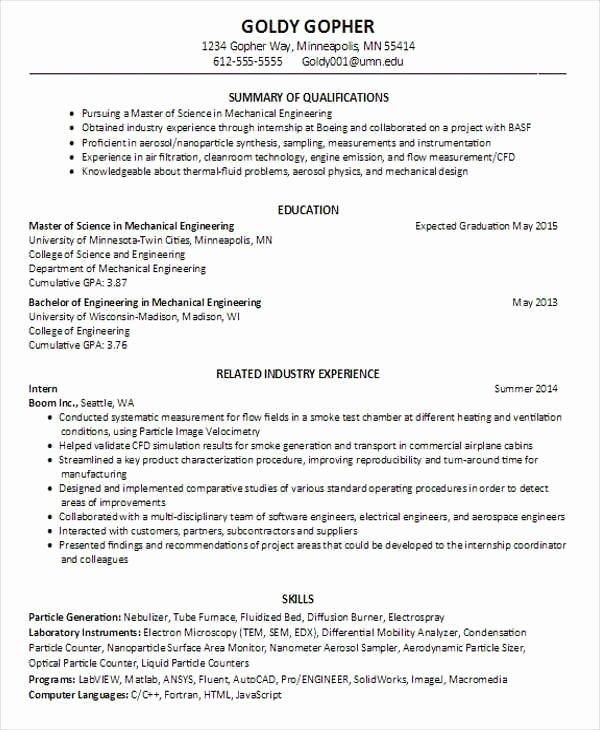 Engineering Student Resume Template New Mechanical Engineering Student Resume Best Resume Collection
