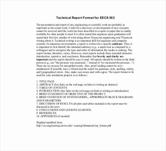 Engineering Technical Report Template Best Of 8 Technical Report Templates Doc Pdf