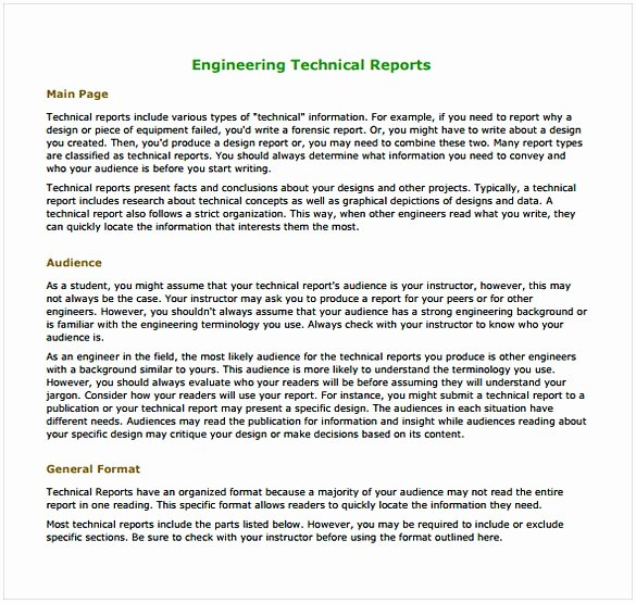 Engineering Technical Report Template Best Of Enginering Report Template