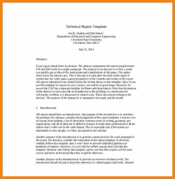 Engineering Technical Report Template Inspirational 7 Technical Report Template