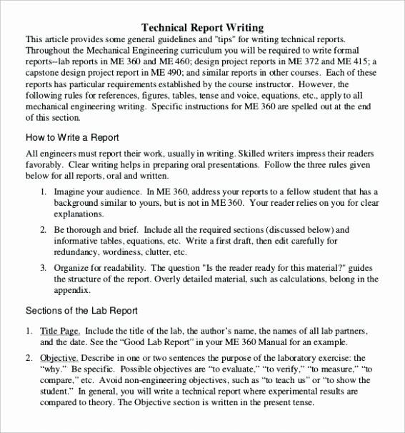 Engineering Technical Report Template Inspirational Engineering Report format Template Engineering Lab Report