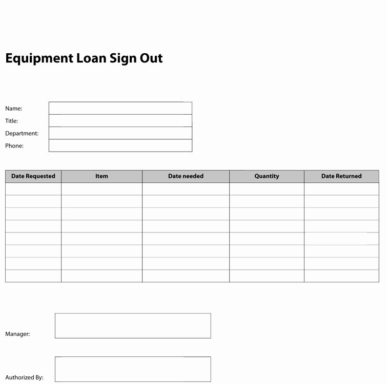 Equipment Checkout form Template Beautiful Best S Of Equipment Check Out form Template Excel