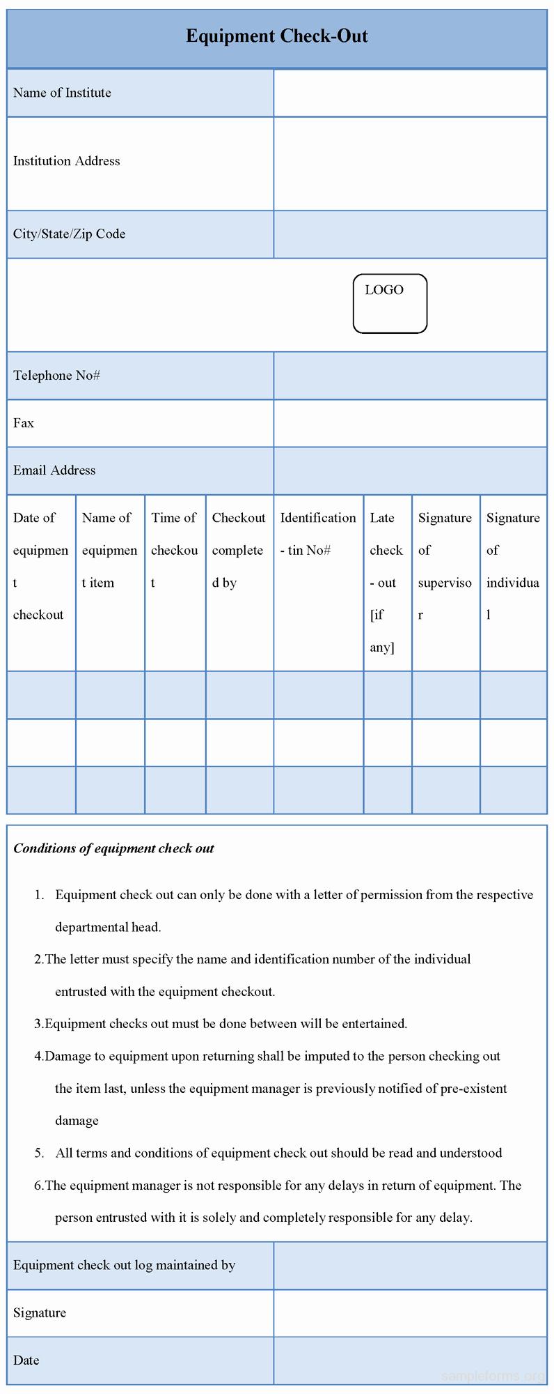 Equipment Checkout form Template Unique Equipment Checkout form Sample forms