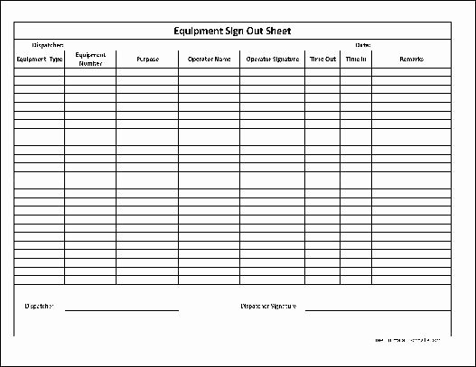 Equipment Checkout form Template Unique Free Basic Equipment Sign Out Sheet From formville