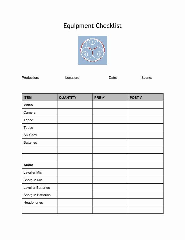 Equipment Inspection Checklist Template Luxury Video Equipment Checklist