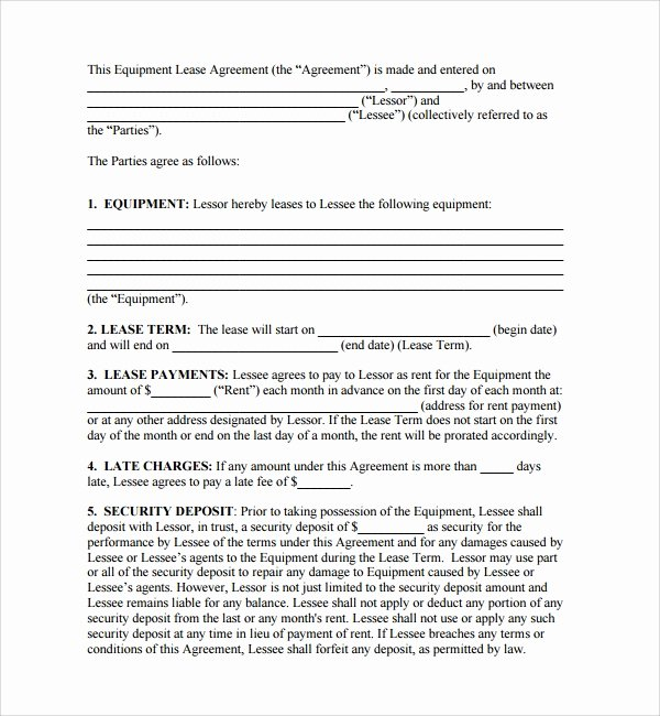 Equipment Lease Agreement Template Awesome 11 Equipment Lease forms to Download for Free