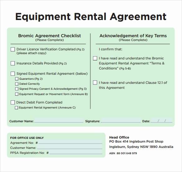Equipment Lease Agreement Template Awesome Sample Equipment Rental Agreement Template 9 Free
