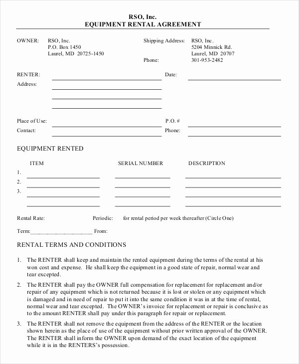 Equipment Lease Agreement Template Beautiful 11 Equipment Rental Agreement Doc Pdf