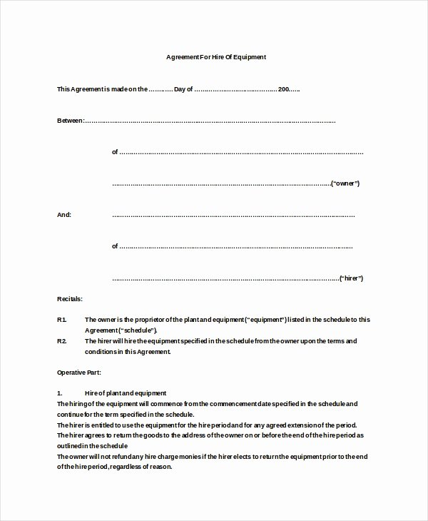 Equipment Lease Agreement Template Beautiful 20 Equipment Rental Agreement Templates Doc Pdf