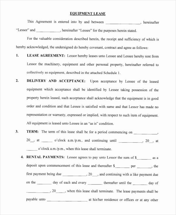 Equipment Lease Agreement Template Beautiful Printable Blank Lease Agreement form 17 Free Word Pdf
