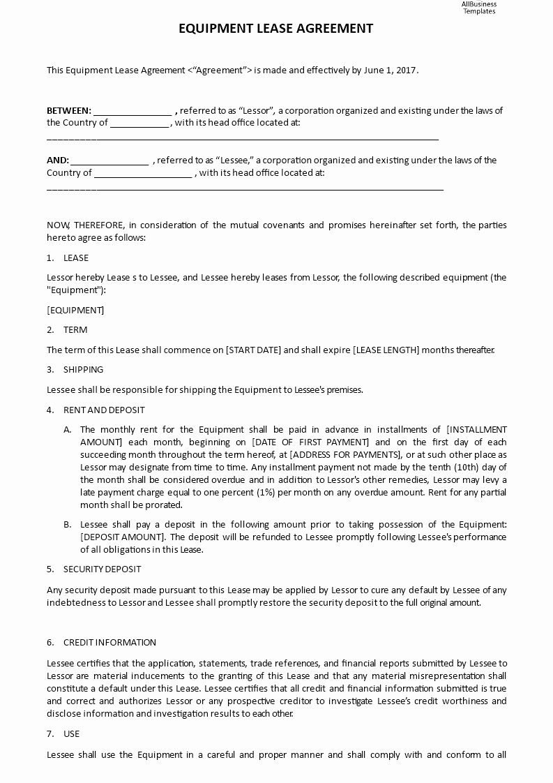 Equipment Lease Agreement Template Best Of Equipment Lease Agreement
