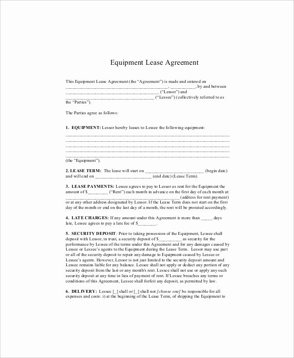 Equipment Lease Agreement Template Elegant Equipment Lease Template 10 Free Word Pdf Google