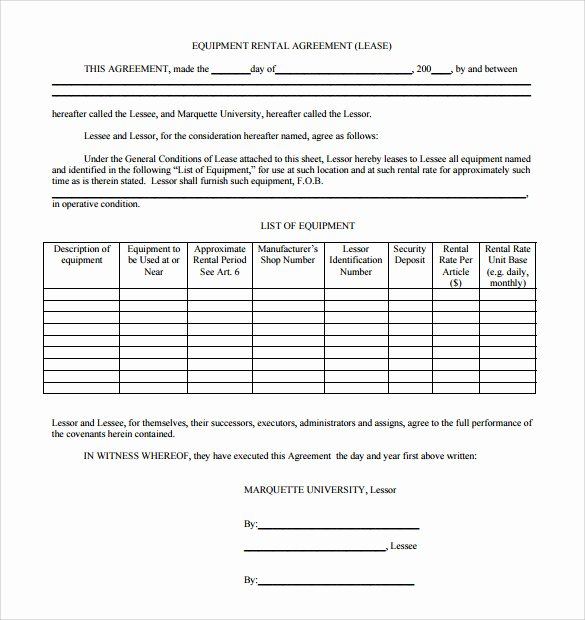 Equipment Lease Agreement Template Fresh 14 Equipment Rental Agreement Templates