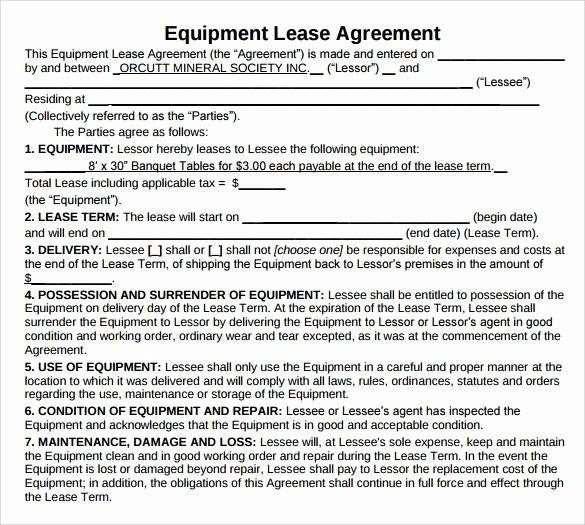 Equipment Lease Agreement Template Lovely 12 Equipment Lease Agreement – Samples Examples & format