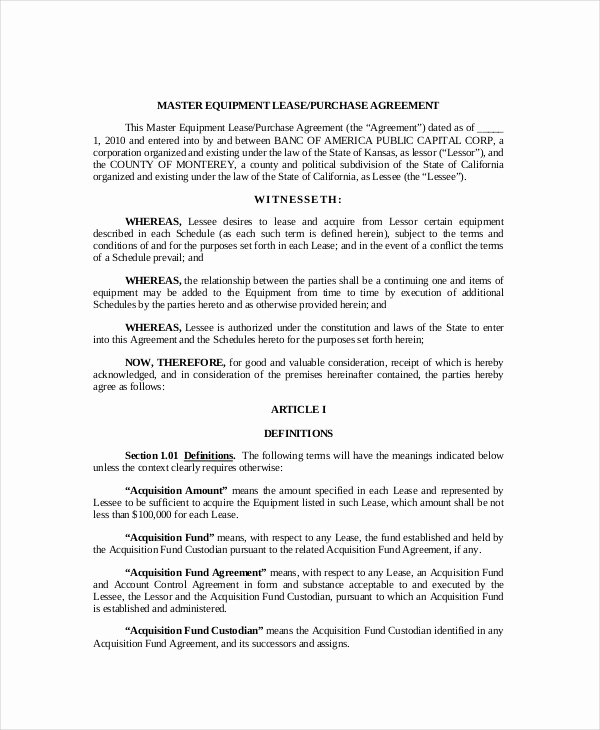 Equipment Lease Agreement Template Lovely Lease Purchase Agreement 9 Free Pdf Word Documents