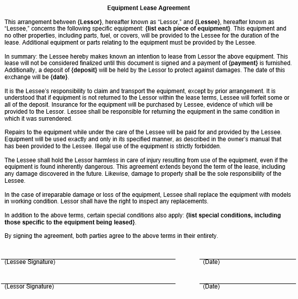 Equipment Lease Agreement Template Luxury Equipment Lease Agreement Template