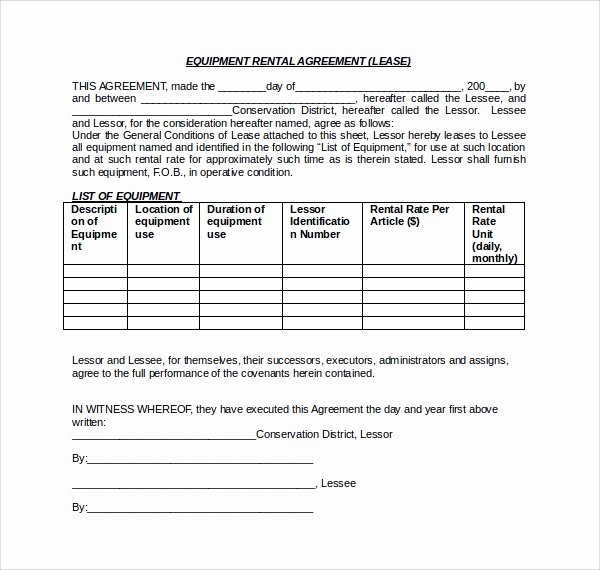 Equipment Lease Agreement Template Unique 11 Equipment Lease forms to Download for Free