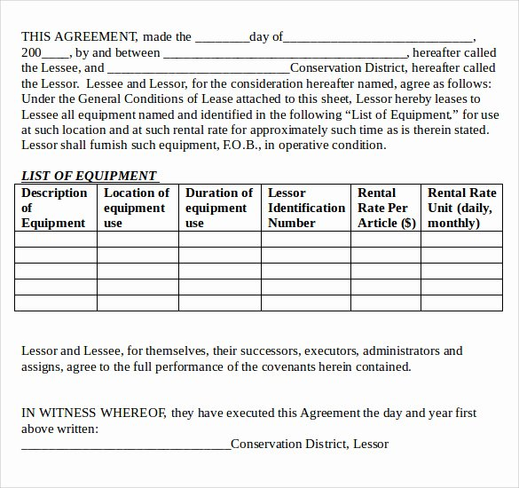 Equipment Lease Agreement Template Unique 12 Equipment Lease Agreement – Samples Examples & format