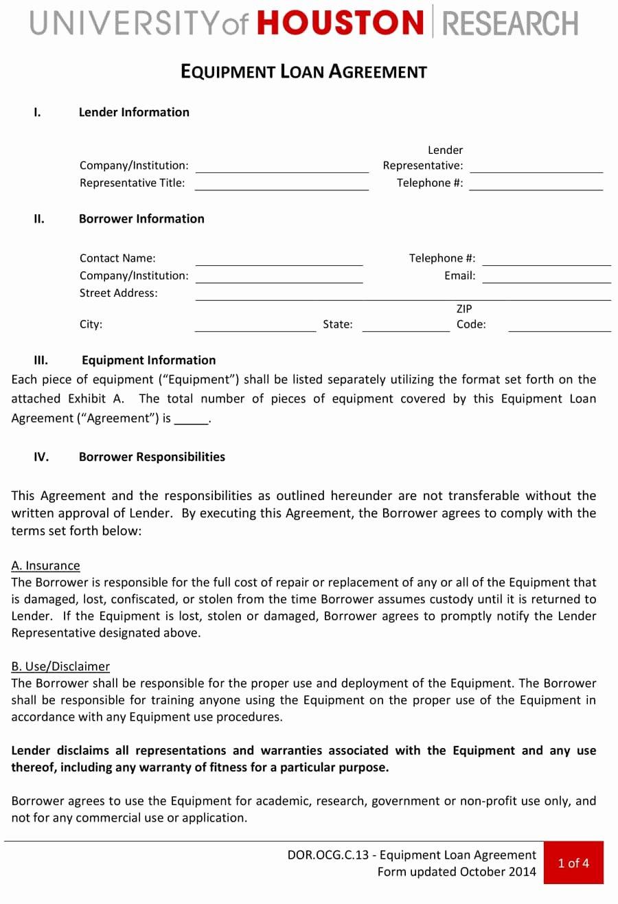 Equipment Loan Agreement Template Elegant 40 Free Loan Agreement Templates [word & Pdf] Template Lab