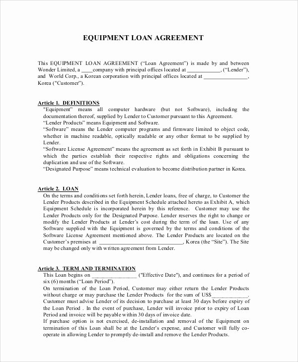 Equipment Loan Agreement Template Fresh 7 Sample Business Loan Agreements