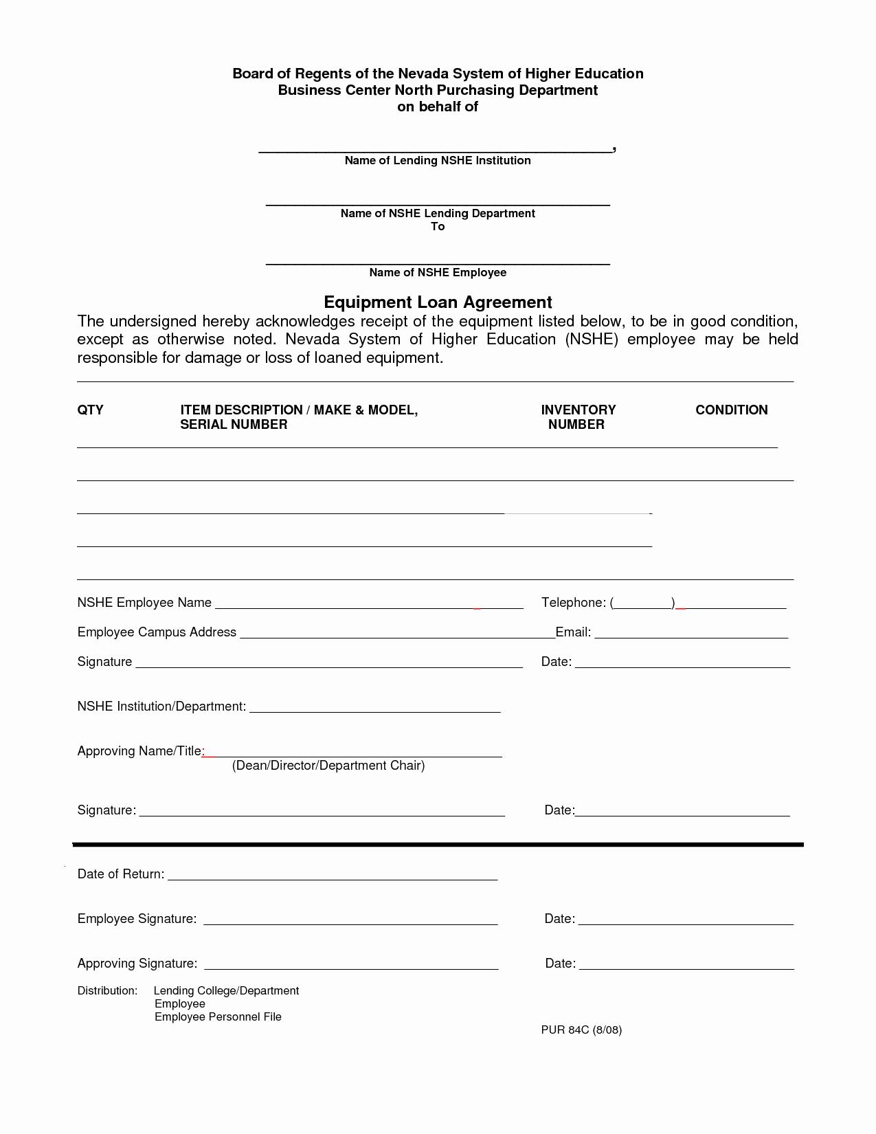 Equipment Loan Agreement Template Inspirational 10 Best Of Employee Loan Agreement Employee Loan