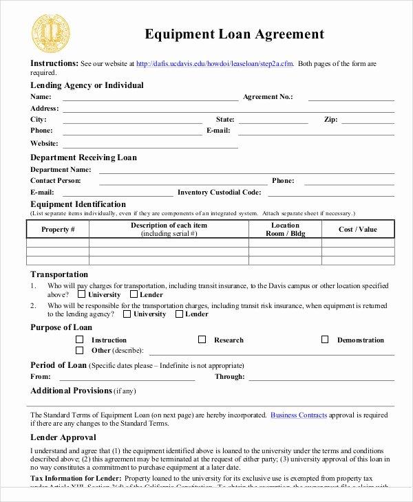Equipment Loan Agreement Template Inspirational 25 Loan Agreement Templates