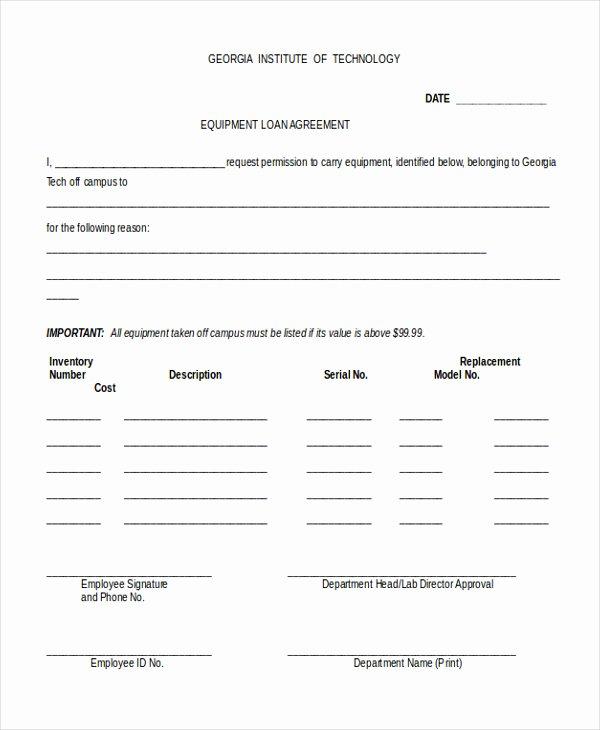 Equipment Loan Agreement Template Inspirational Employee Equipment Agreement Template Employee Equipment