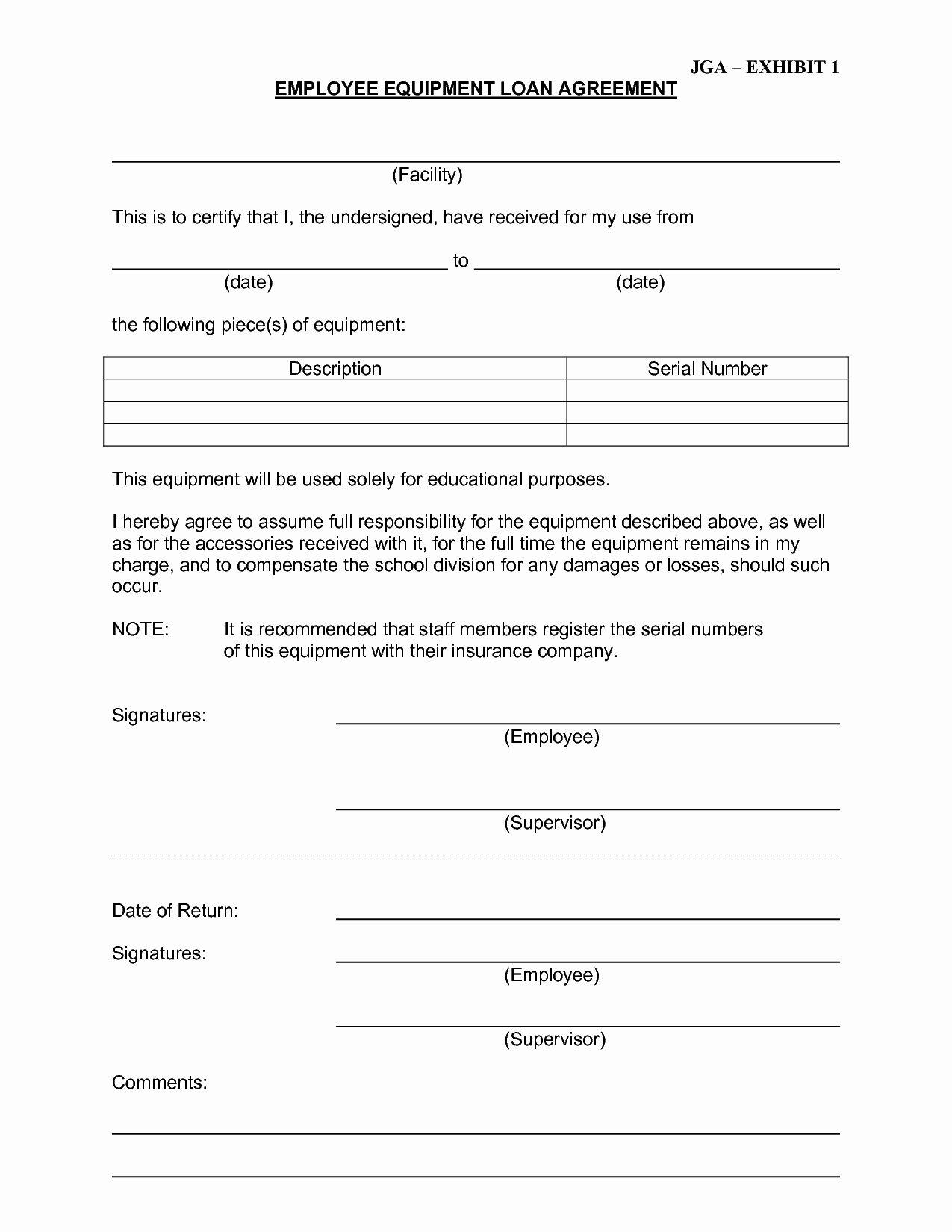 Equipment Loan Agreement Template Inspirational Equipment Loan Agreement Template Free Plete Best S
